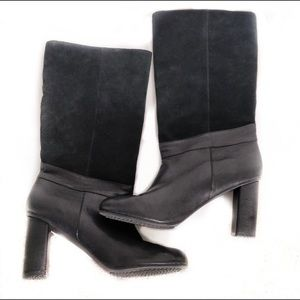 Armani Black Leather & Suede Heeled Boots